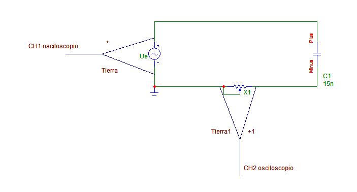 Circuito Rc : Medir la intensidad con el osciloscopio en circuito