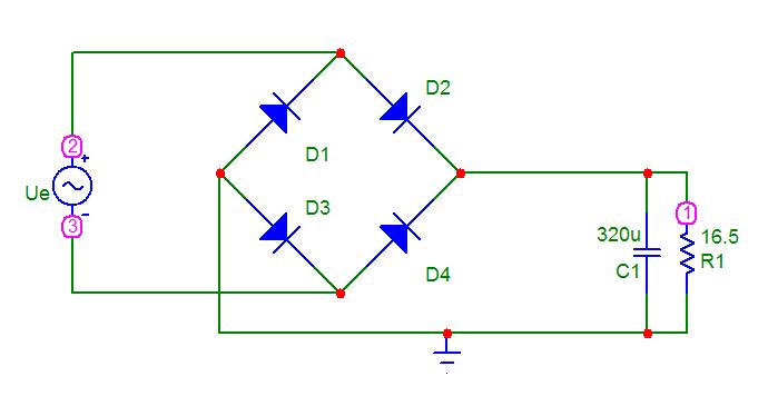 Rectificador de doble onda simulacion