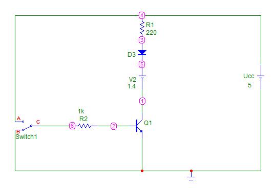 Simulacion con el Micro-Cap del BJT como interruptor