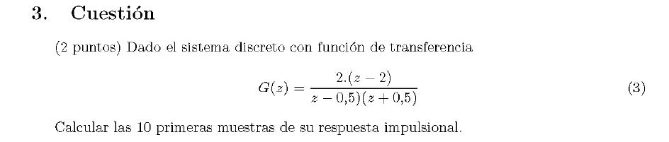 Enunciado de la cuestion 3 del examen de la 2 semana de Junio del 2007 de Regulacion Automatica II