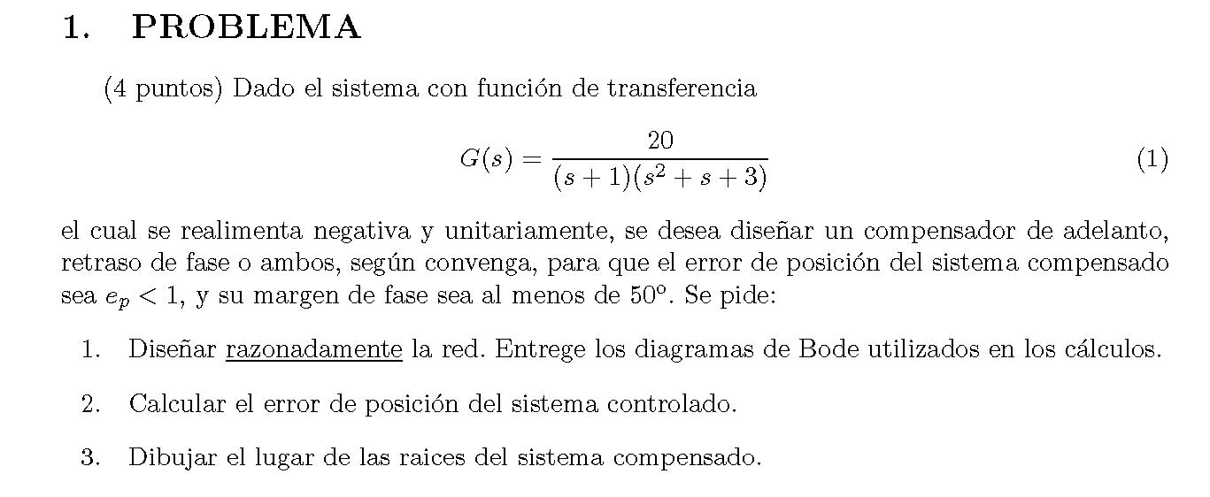 Enunciado del problema 1 del examen de la 2 semana de Junio del 2007 de Regulacion Automatica II