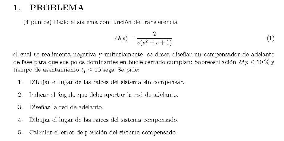 Enunciado del problema 1 del examen de la 1 semana de Septiembre del 2007 de Regulacion Automatica II