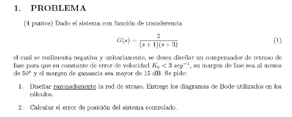 Enunciado del problema 2 del examen de la 1 semana de Septiembre del 2007 de Regulacion Automatica II