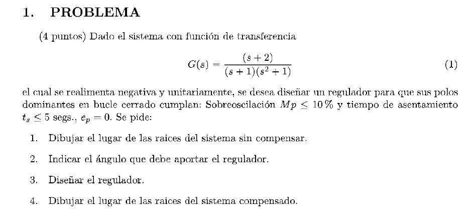 Enunciado del problema 1 del examen de la 1 semana de Junio del 2008 de Regulacion Automatica II