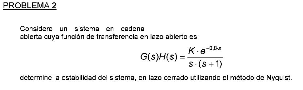 enunciado del problema 2 del examen de febrero del 2009 de Regulacion Automatica I