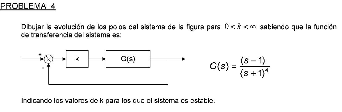enunciado del problema 4 del examen de febrero de 2009 de Regulacion Automatica I